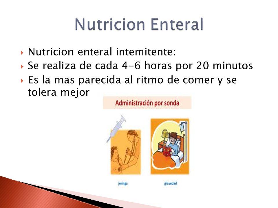  Nutricion enteral intemitente:  Se realiza de cada 4-6 horas por 20 minutos  Es la mas parecida al ritmo de comer y se tolera mejor