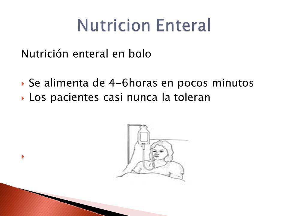 Nutrición enteral en bolo  Se alimenta de 4-6horas en pocos minutos  Los pacientes casi nunca la toleran 