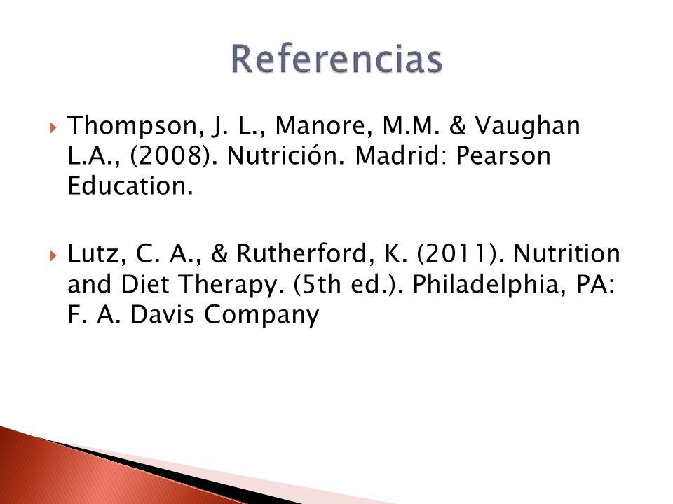  Thompson, J. L., Manore, M.M. & Vaughan L.A., (2008).