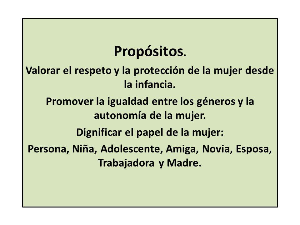 Propósitos. Valorar el respeto y la protección de la mujer desde la infancia.