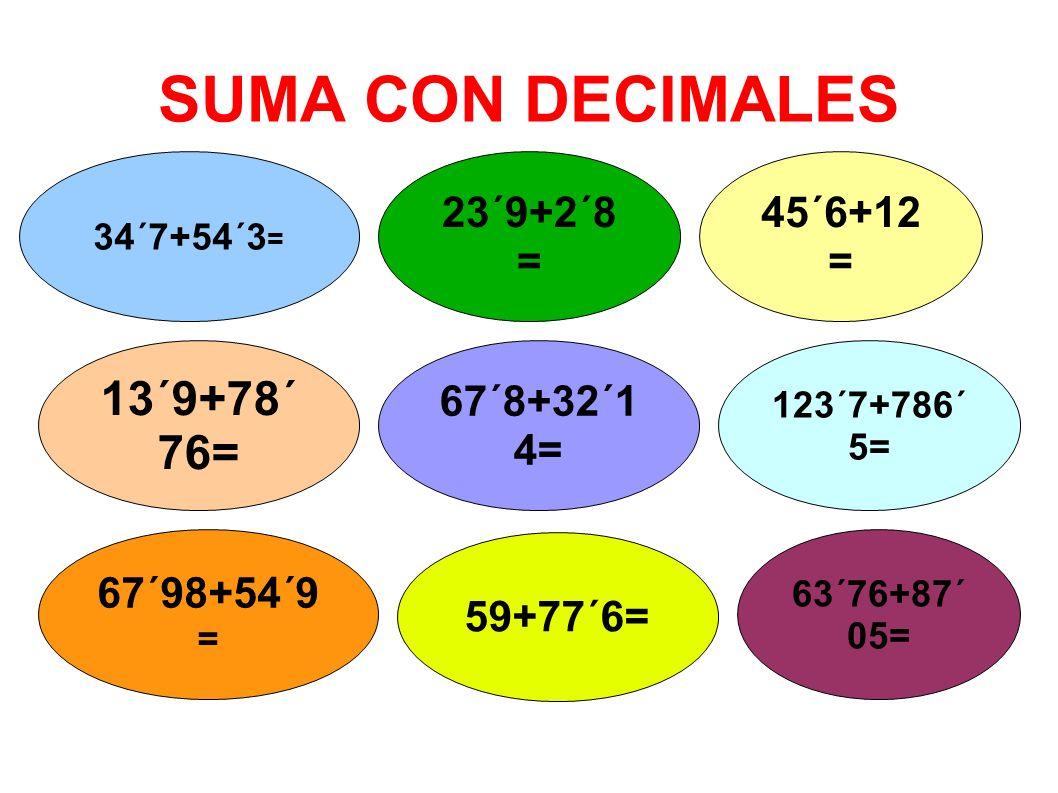 SUMA CON DECIMALES 34´7+54´3 = 23´9+2´8 = 45´6+12 = 13´9+78´ 76= 67´8+32´1 4= 123´7+786´ 5= 67´98+54´9 = 59+77´6= 63´76+87´ 05=