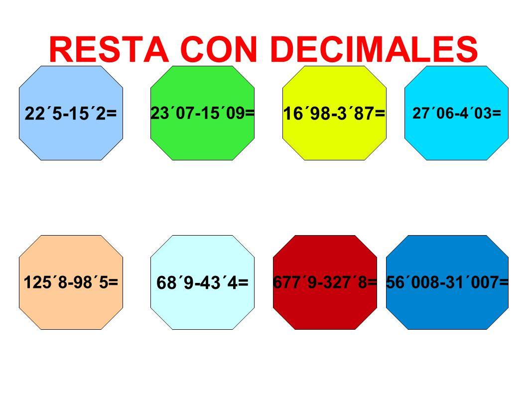 RESTA CON DECIMALES 22´5-15´2= 23´07-15´09= 16´98-3´87= 27´06-4´03= 125´8-98´5= 68´9-43´4= 677´9-327´8=56´008-31´007=