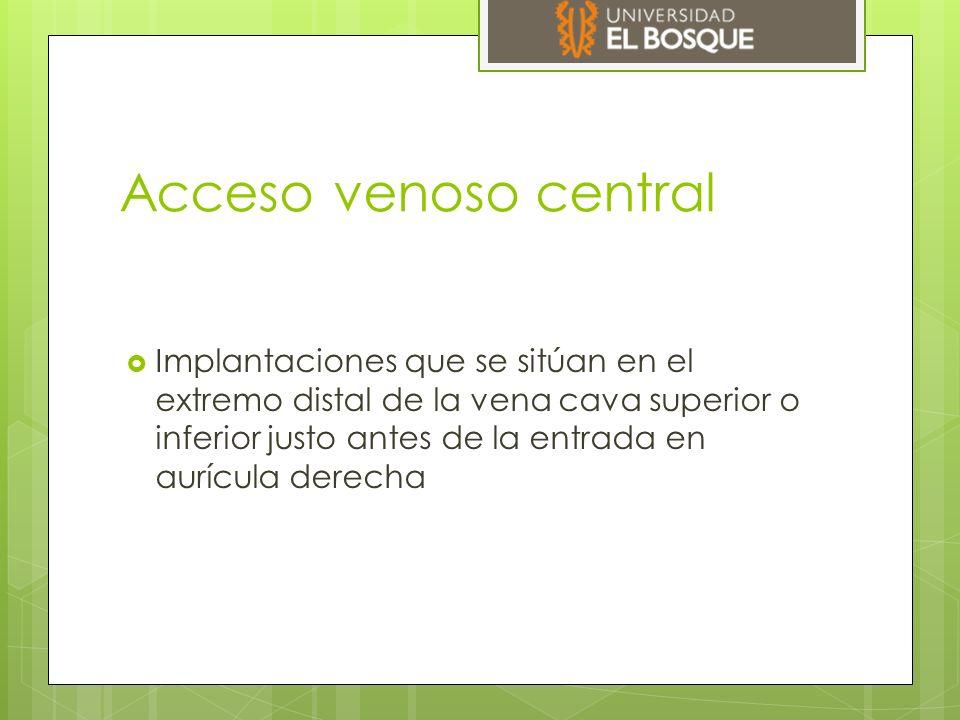 Acceso venoso central  Implantaciones que se sitúan en el extremo distal de la vena cava superior o inferior justo antes de la entrada en aurícula derecha