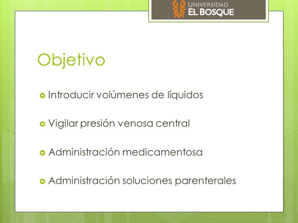 Objetivo  Introducir volúmenes de líquidos  Vigilar presión venosa central  Administración medicamentosa  Administración soluciones parenterales