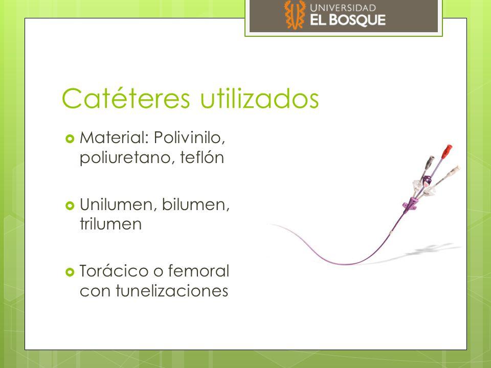 Catéteres utilizados  Material: Polivinilo, poliuretano, teflón  Unilumen, bilumen, trilumen  Torácico o femoral con tunelizaciones