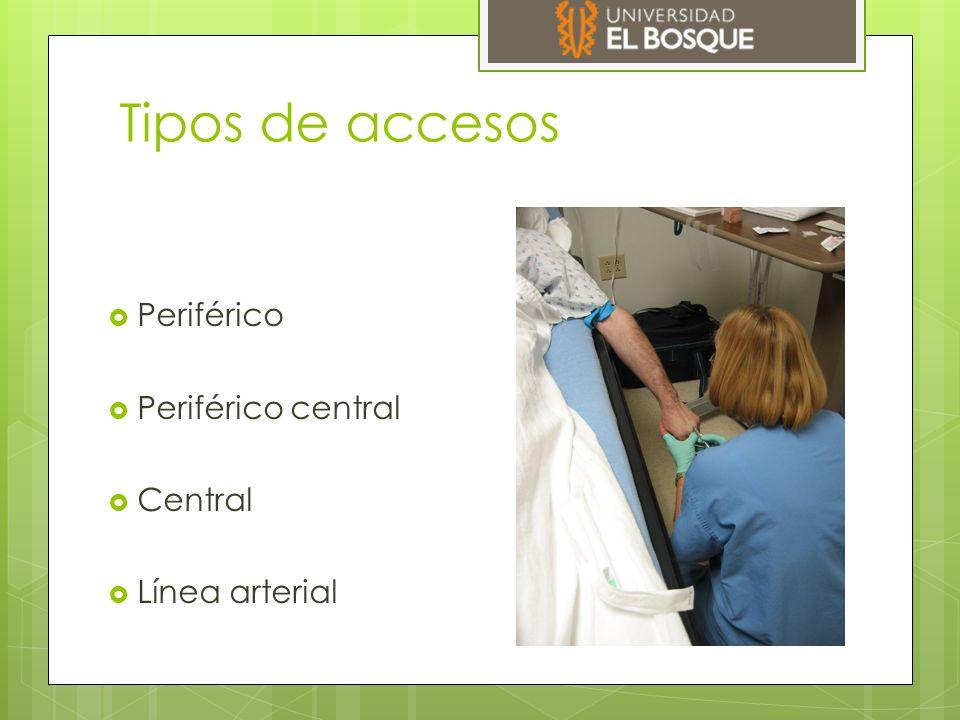 Tipos de accesos  Periférico  Periférico central  Central  Línea arterial