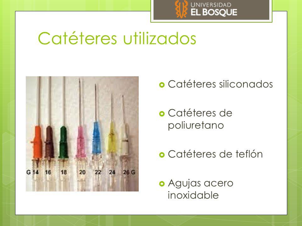 Catéteres utilizados  Catéteres siliconados  Catéteres de poliuretano  Catéteres de teflón  Agujas acero inoxidable