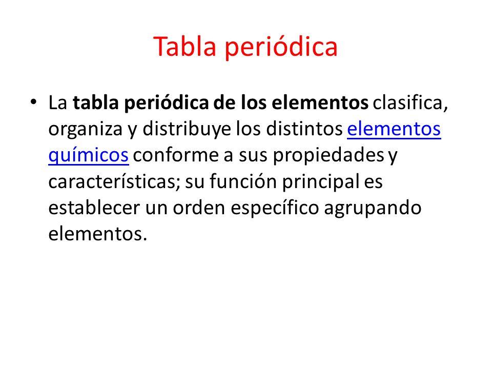 Fecha 28 de noviembre tema tabla peridica y elementos qumicos 3 tabla peridica la tabla peridica de los elementos clasifica organiza y distribuye los distintos elementos qumicos conforme a sus propiedades y urtaz Image collections