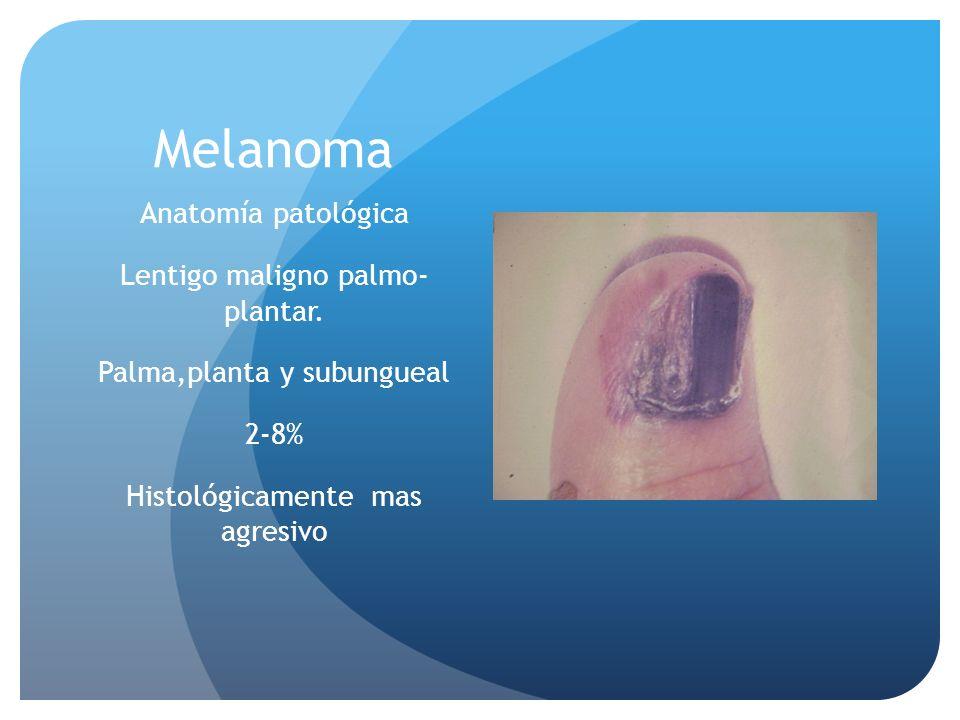 Melanoma Anatomía patológica Lentigo maligno palmo- plantar.