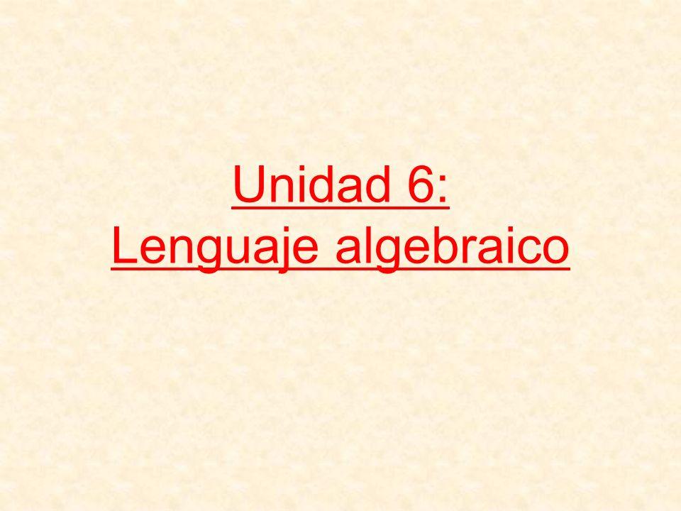 Unidad 6: Lenguaje algebraico