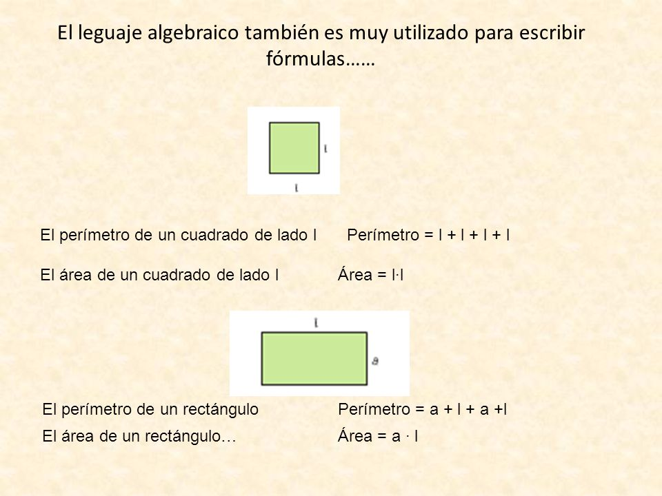 El leguaje algebraico también es muy utilizado para escribir fórmulas…… El perímetro de un cuadrado de lado l Perímetro = l + l + l + l El área de un cuadrado de lado l Área = l·l El perímetro de un rectángulo Perímetro = a + l + a +l El área de un rectángulo… Área = a · l