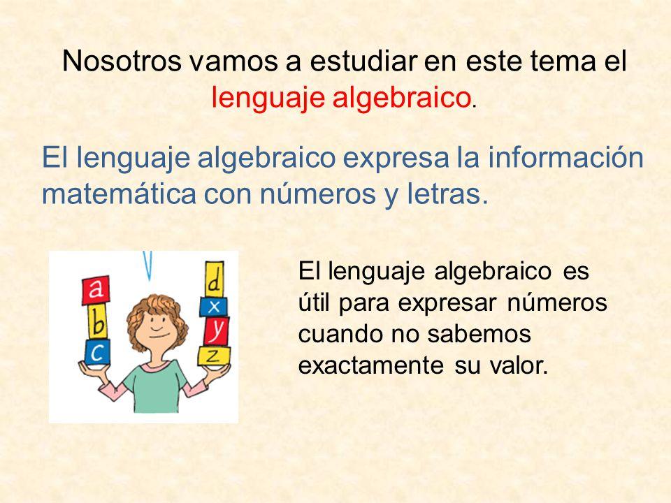 Nosotros vamos a estudiar en este tema el lenguaje algebraico.