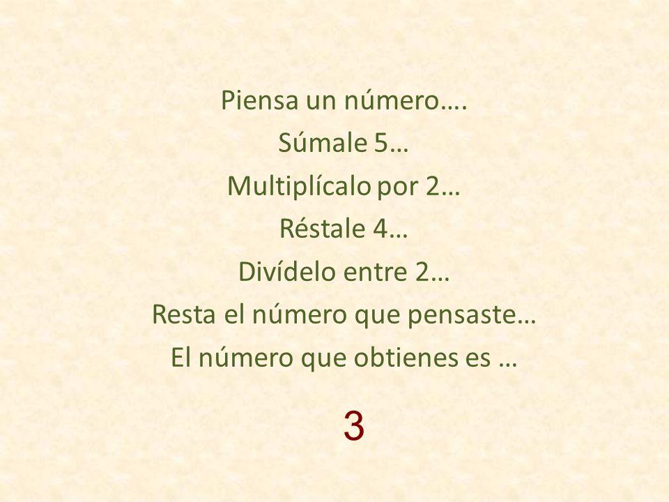 Piensa un número… Réstale 3… Multiplícalo por 10… Suma 40 Divídelo entre 5… ¿qué número obtienes?… El número que pensaste es… Ahora… 2x +2