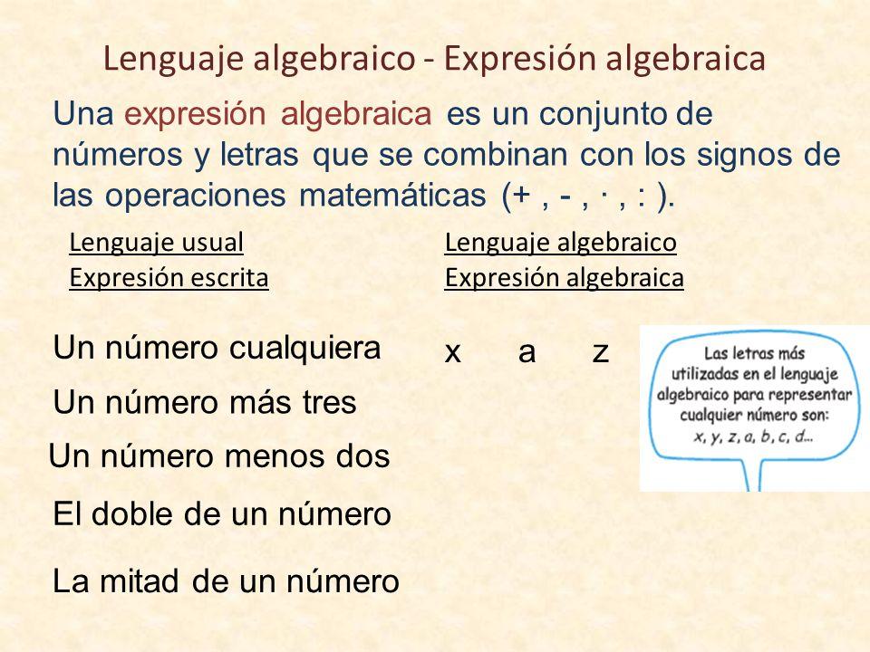 Lenguaje algebraico - Expresión algebraica Una expresión algebraica es un conjunto de números y letras que se combinan con los signos de las operaciones matemáticas (+, -, ·, : ).