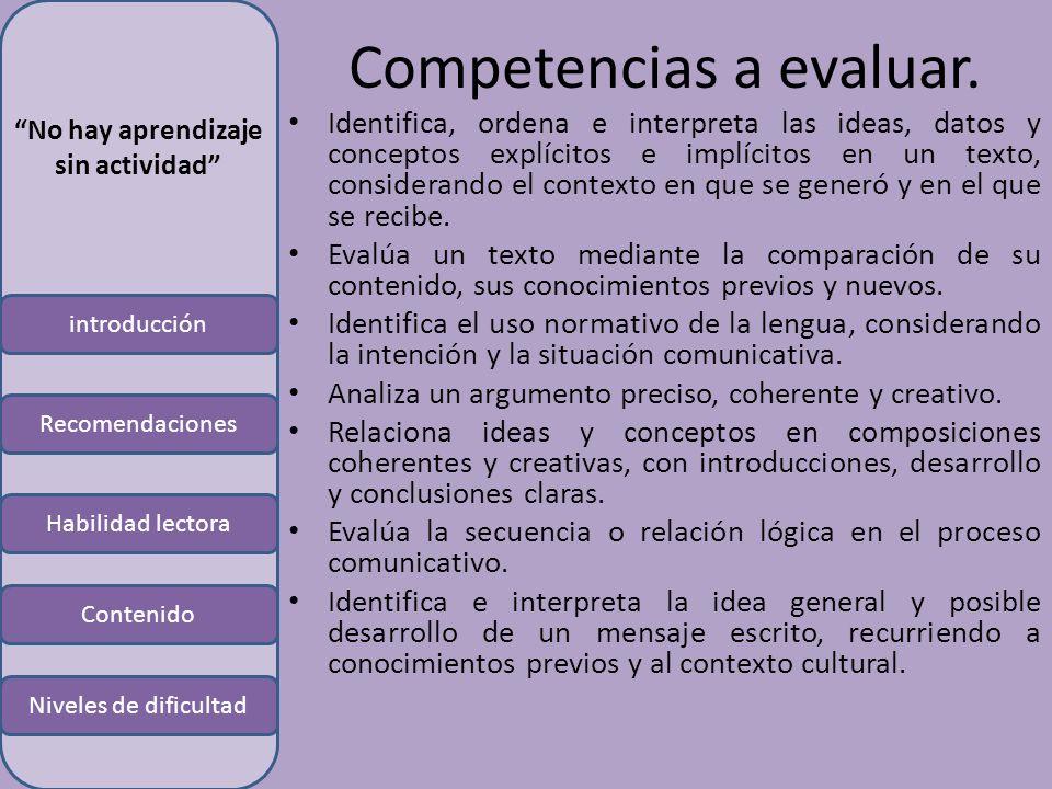 introducción Habilidad lectora Contenido Niveles de dificultad Recomendaciones No hay aprendizaje sin actividad Competencias a evaluar.