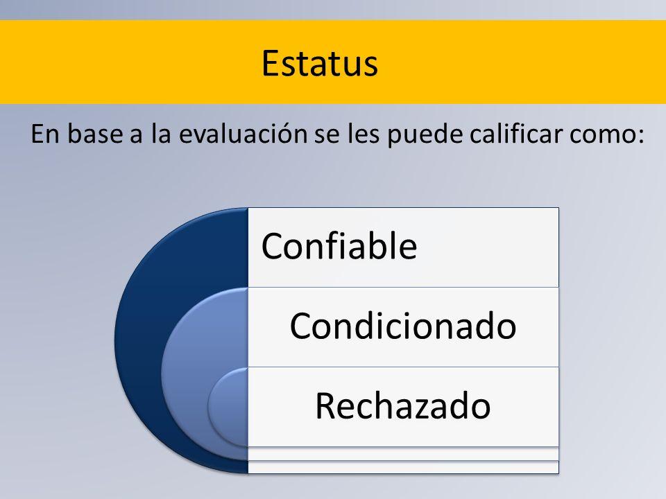 Estatus En base a la evaluación se les puede calificar como: Confiable Condicionado Rechazado