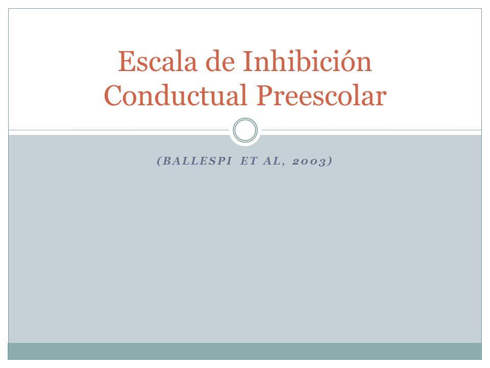 (BALLESPI ET AL, 2003) Escala de Inhibición Conductual Preescolar