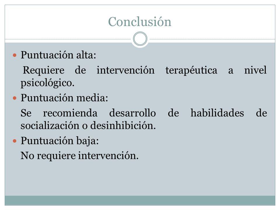 Conclusión Puntuación alta: Requiere de intervención terapéutica a nivel psicológico.