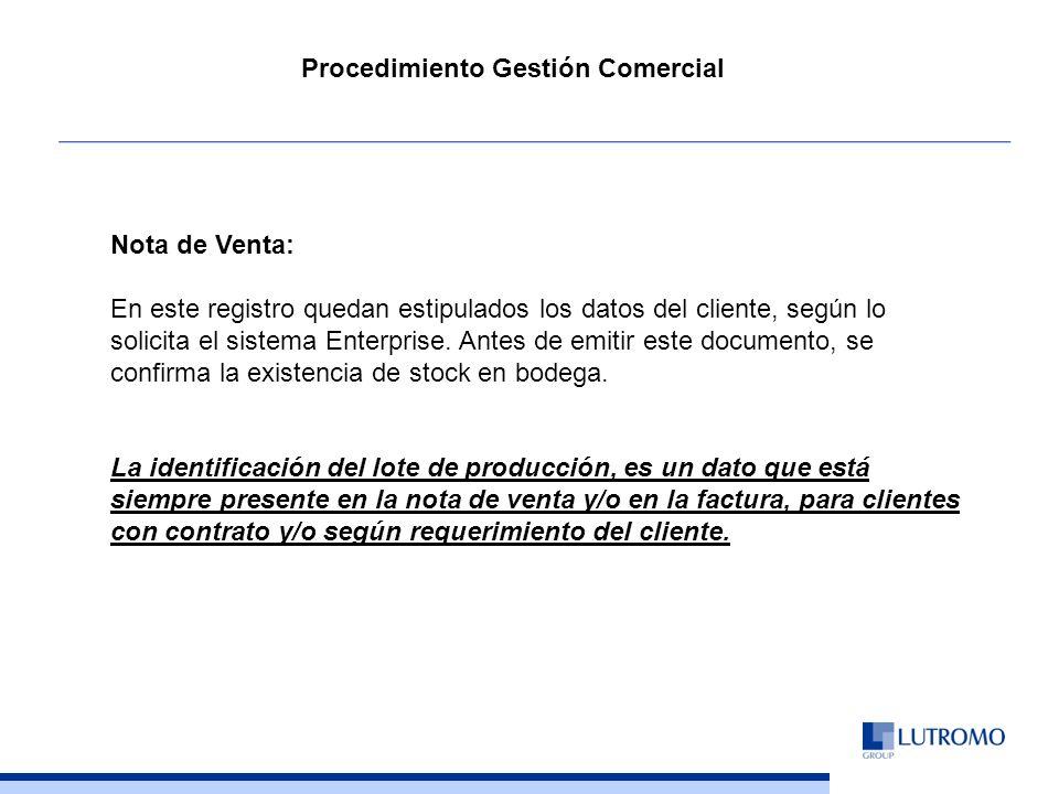 Nota de Venta: En este registro quedan estipulados los datos del cliente, según lo solicita el sistema Enterprise.