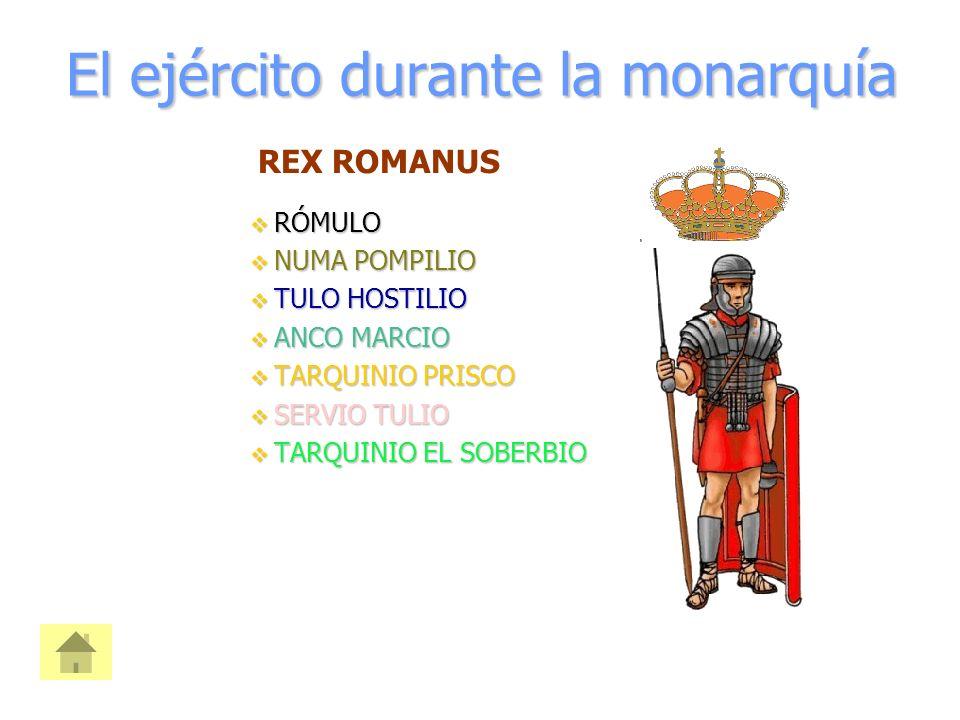 El ejército durante la monarquía  RÓMULO  NUMA POMPILIO  TULO HOSTILIO  ANCO MARCIO  TARQUINIO PRISCO  SERVIO TULIO  TARQUINIO EL SOBERBIO REX ROMANUS