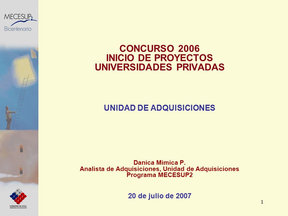 1 CONCURSO 2006 INICIO DE PROYECTOS UNIVERSIDADES PRIVADAS UNIDAD DE ADQUISICIONES Danica Mimica P. Analista de Adquisiciones, Unidad de Adquisiciones