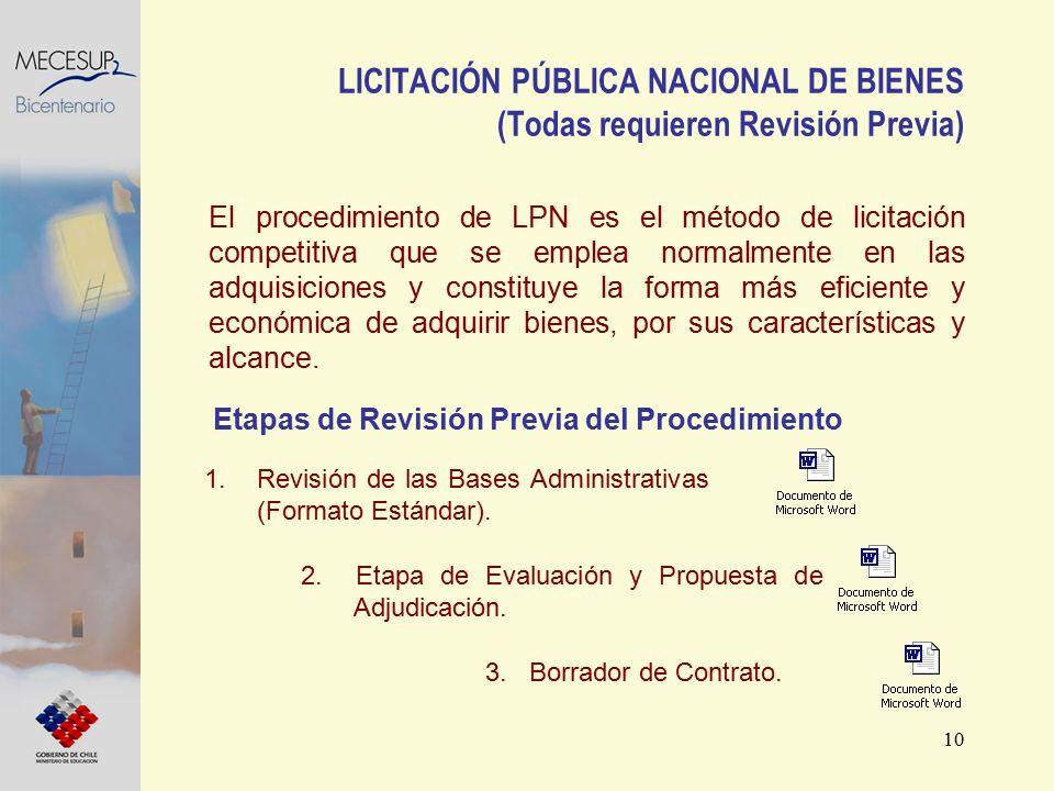 10 LICITACIÓN PÚBLICA NACIONAL DE BIENES (Todas requieren Revisión Previa) El procedimiento de LPN es el método de licitación competitiva que se emple