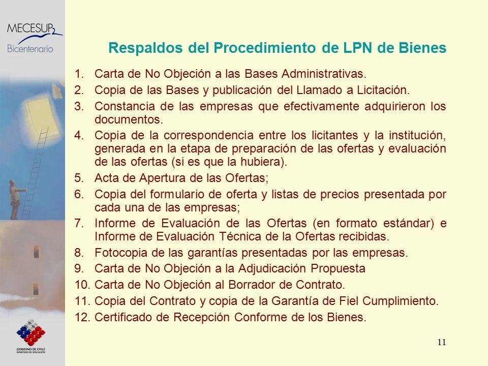 11 1.Carta de No Objeción a las Bases Administrativas. 2.Copia de las Bases y publicación del Llamado a Licitación. 3.Constancia de las empresas que e