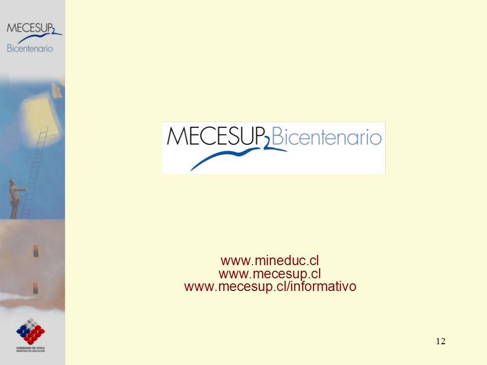 12 www.mineduc.cl www.mecesup.cl www.mecesup.cl/informativo