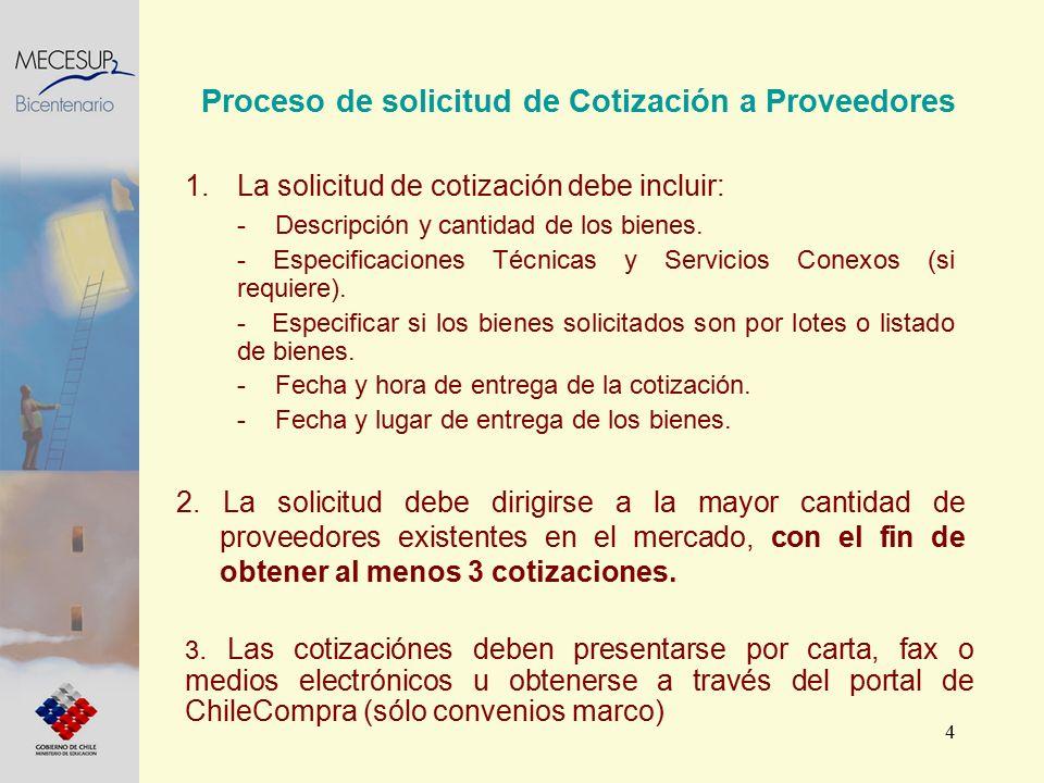4 Proceso de solicitud de Cotización a Proveedores 2. La solicitud debe dirigirse a la mayor cantidad de proveedores existentes en el mercado, con el