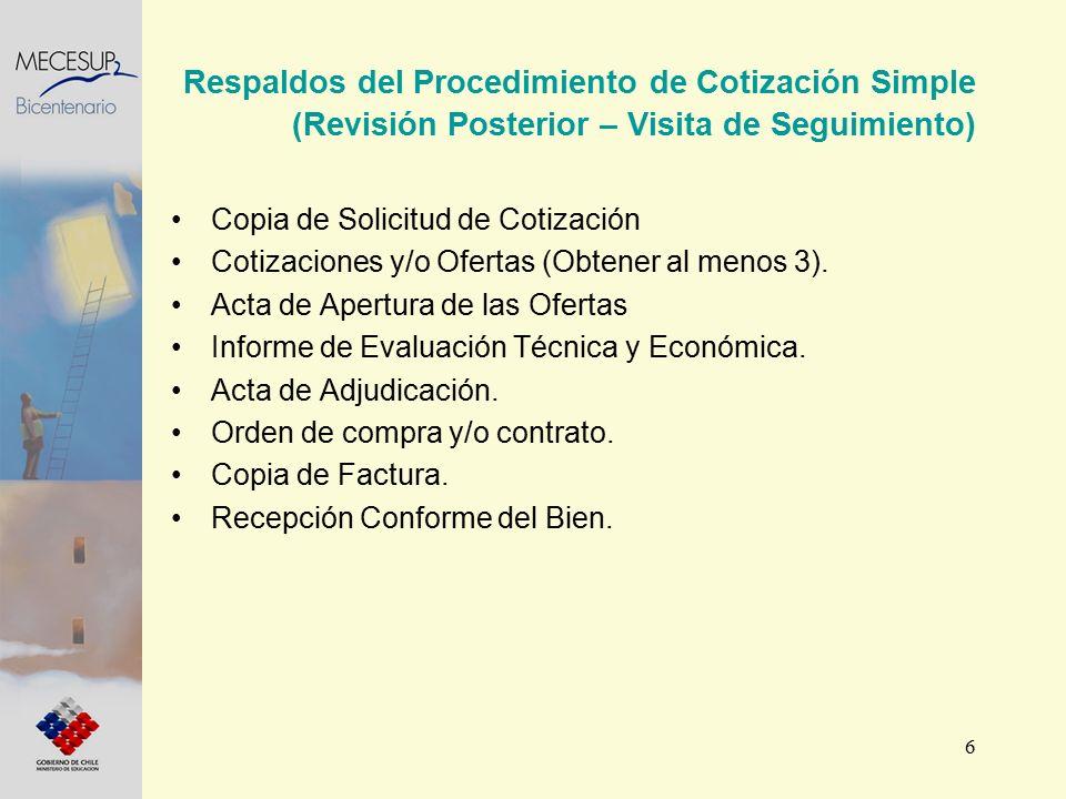 6 Respaldos del Procedimiento de Cotización Simple (Revisión Posterior – Visita de Seguimiento) Copia de Solicitud de Cotización Cotizaciones y/o Ofertas (Obtener al menos 3).