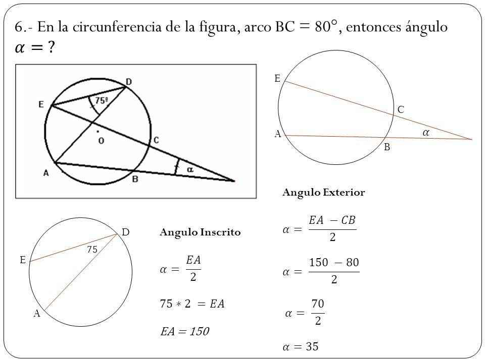 Excelente Arcos ángulos Centrales E Inscritos Respuestas ángulos ...