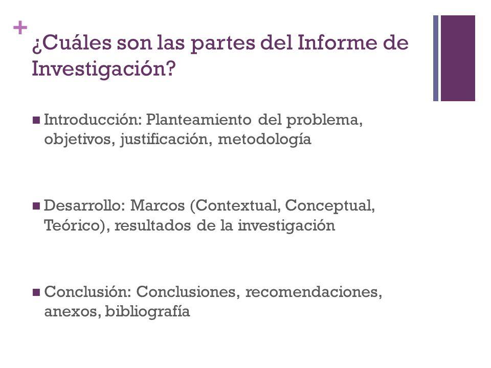 + ¿Cuáles son las partes del Informe de Investigación.