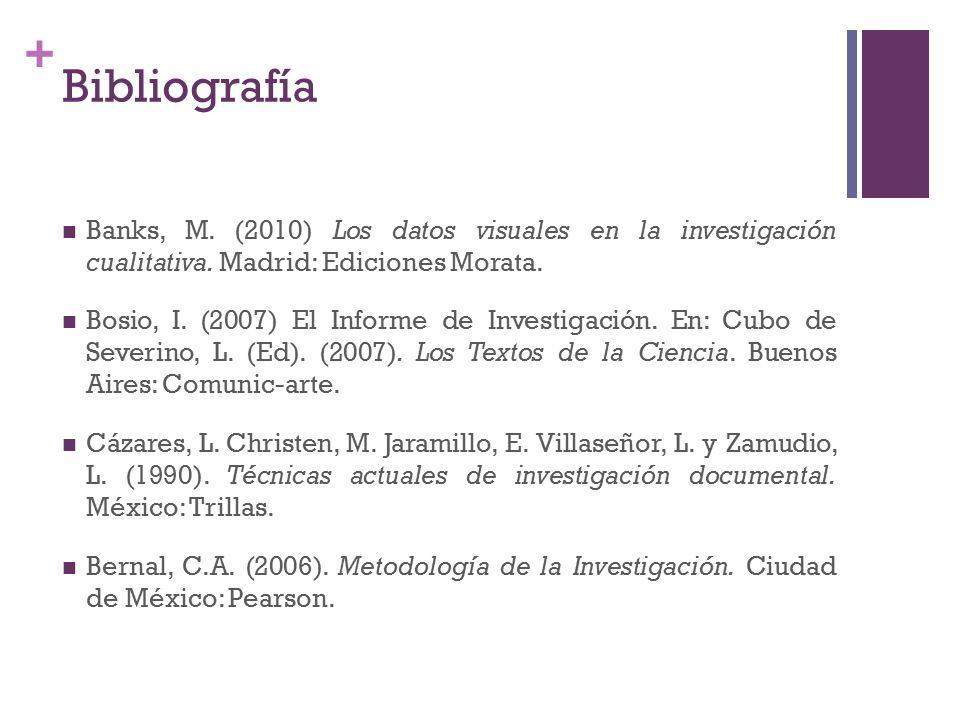 + Banks, M. (2010) Los datos visuales en la investigación cualitativa.