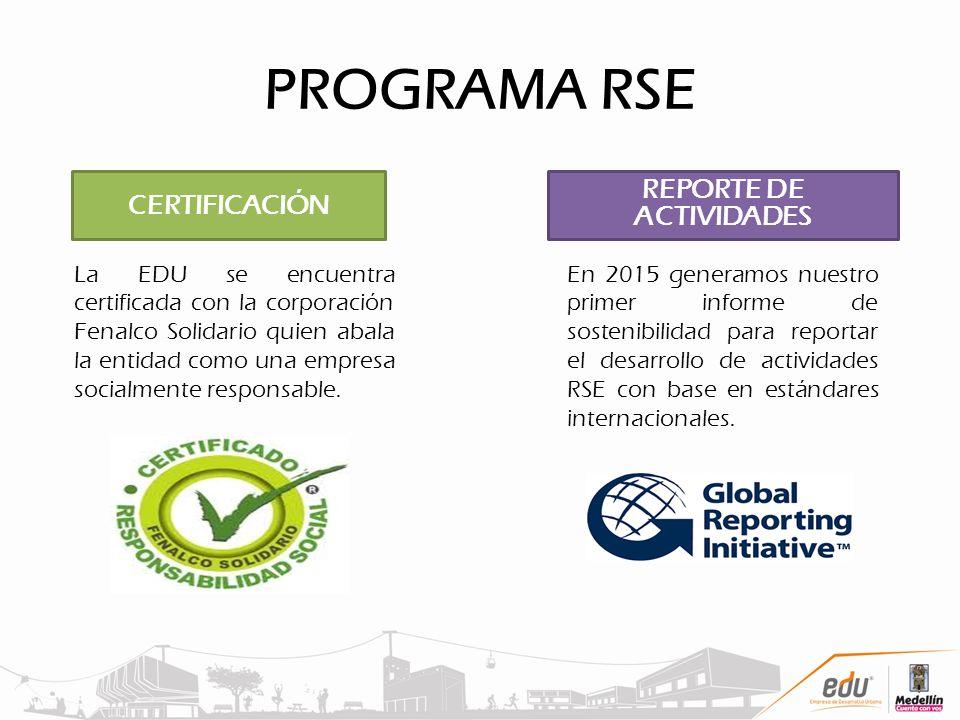 PROGRAMA RSE CERTIFICACIÓN La EDU se encuentra certificada con la corporación Fenalco Solidario quien abala la entidad como una empresa socialmente re