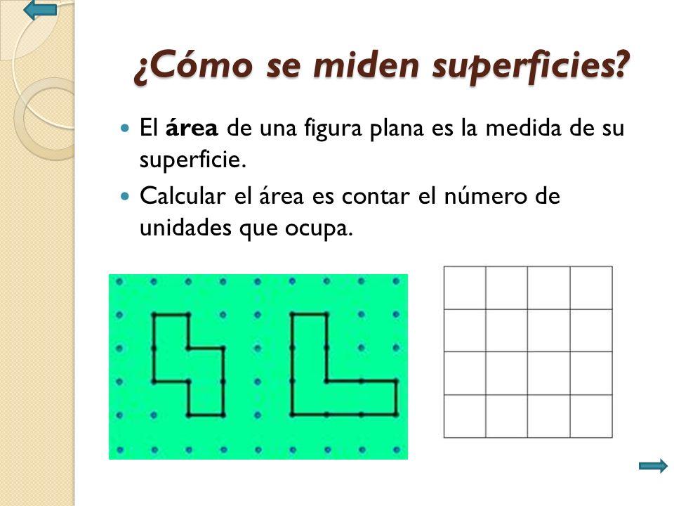 ¿Cómo se miden superficies. El área de una figura plana es la medida de su superficie.