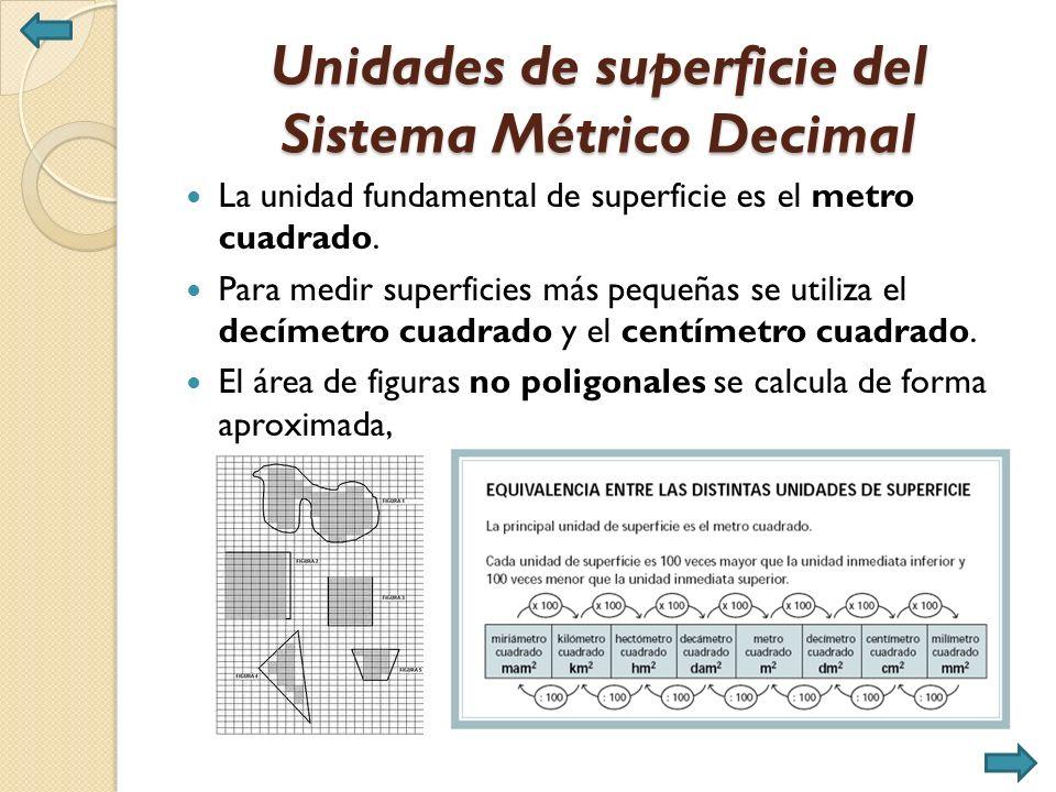 Unidades de superficie del Sistema Métrico Decimal La unidad fundamental de superficie es el metro cuadrado.