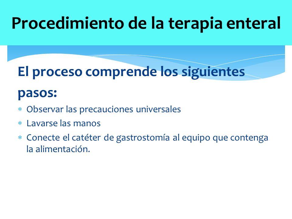 El proceso comprende los siguientes pasos:  Observar las precauciones universales  Lavarse las manos  Conecte el catéter de gastrostomía al equipo que contenga la alimentación.