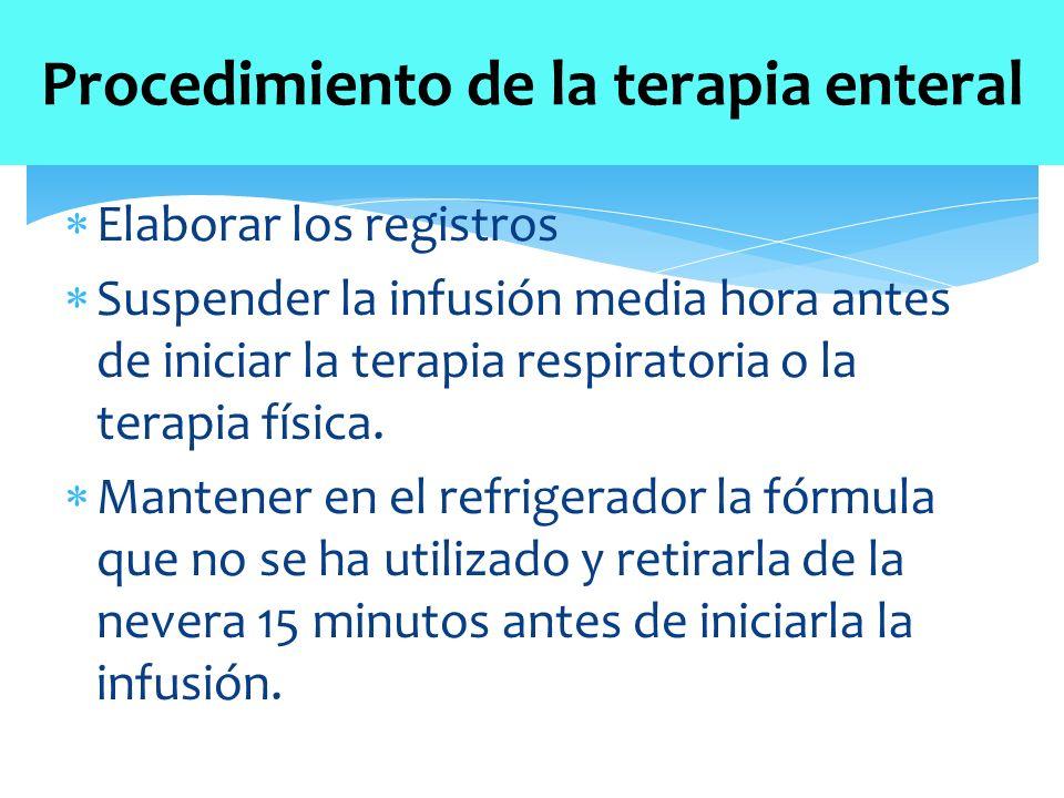  Elaborar los registros  Suspender la infusión media hora antes de iniciar la terapia respiratoria o la terapia física.