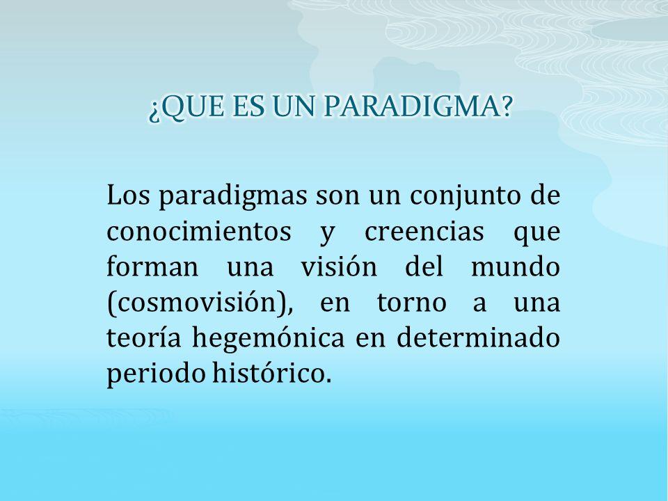 Los paradigmas son un conjunto de conocimientos y creencias que forman una visión del mundo (cosmovisión), en torno a una teoría hegemónica en determinado periodo histórico.