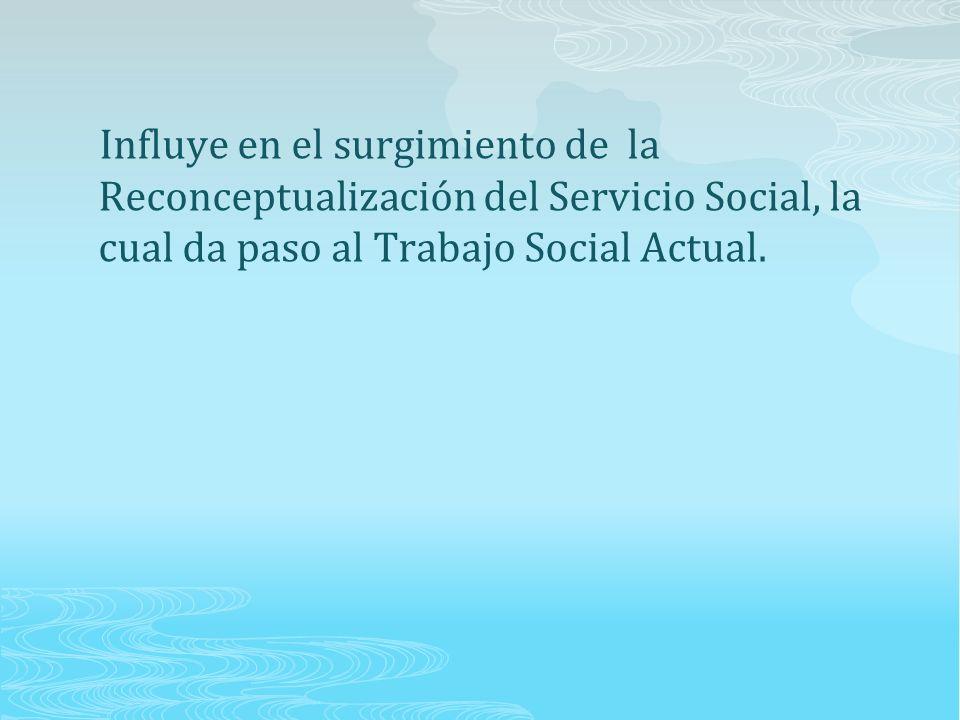 Influye en el surgimiento de la Reconceptualización del Servicio Social, la cual da paso al Trabajo Social Actual.