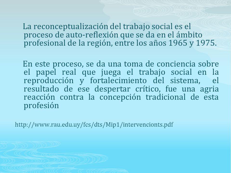 La reconceptualización del trabajo social es el proceso de auto-reflexión que se da en el ámbito profesional de la región, entre los años 1965 y 1975.