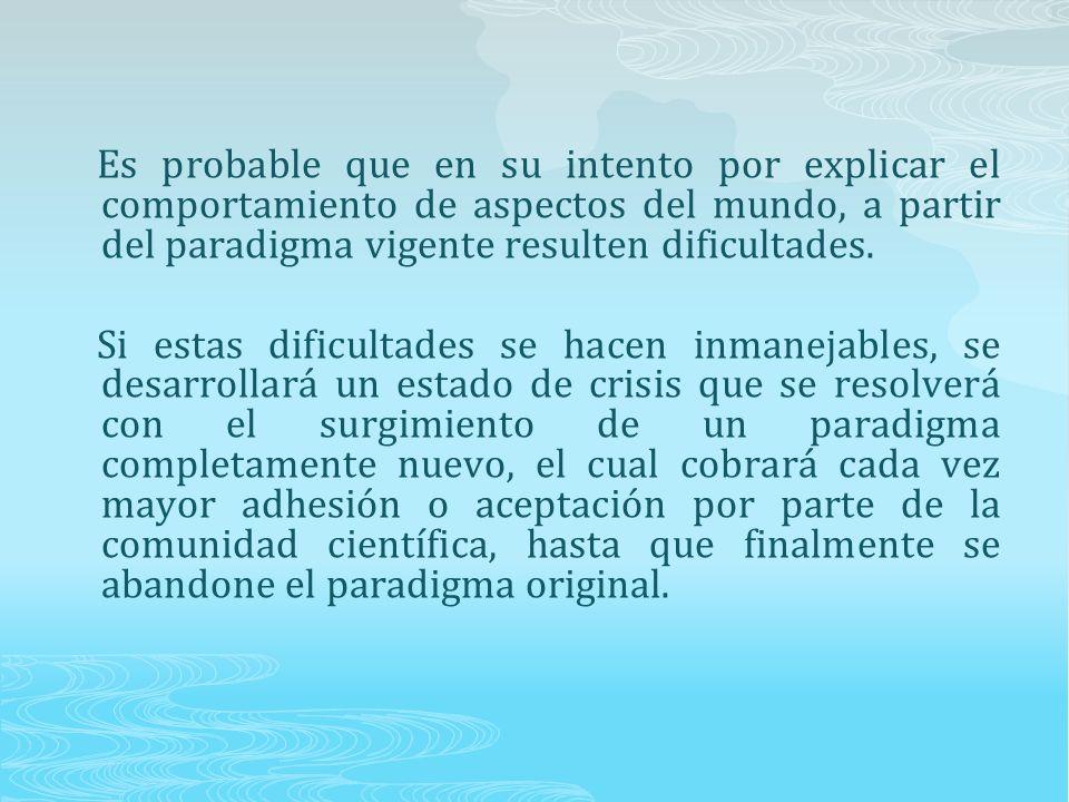 Es probable que en su intento por explicar el comportamiento de aspectos del mundo, a partir del paradigma vigente resulten dificultades.