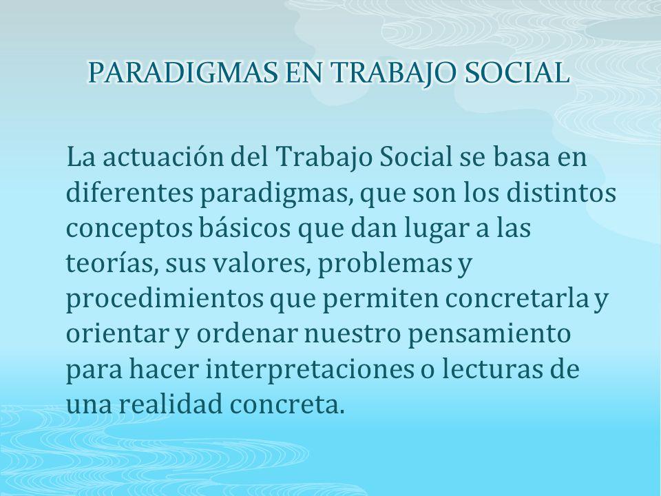 La actuación del Trabajo Social se basa en diferentes paradigmas, que son los distintos conceptos básicos que dan lugar a las teorías, sus valores, problemas y procedimientos que permiten concretarla y orientar y ordenar nuestro pensamiento para hacer interpretaciones o lecturas de una realidad concreta.