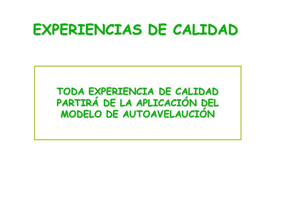 EXPERIENCIAS DE CALIDAD TODA EXPERIENCIA DE CALIDAD PARTIRÁ DE LA APLICACIÓN DEL MODELO DE AUTOAVELAUCIÓN