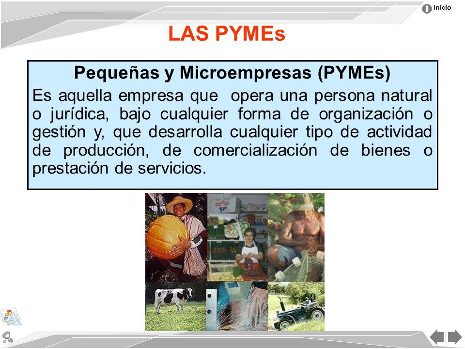 Inicio LAS PYMEs Pequeñas y Microempresas (PYMEs) Es aquella empresa que opera una persona natural o jurídica, bajo cualquier forma de organización o gestión y, que desarrolla cualquier tipo de actividad de producción, de comercialización de bienes o prestación de servicios.