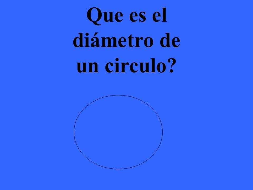 El diámetro de un circulo es la línea que pasa por el centro de un circulo y mide de la do a lado.