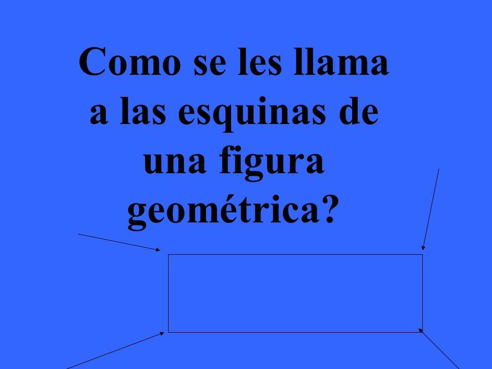 A las esquinas de una figura geométrica se les llama vértices
