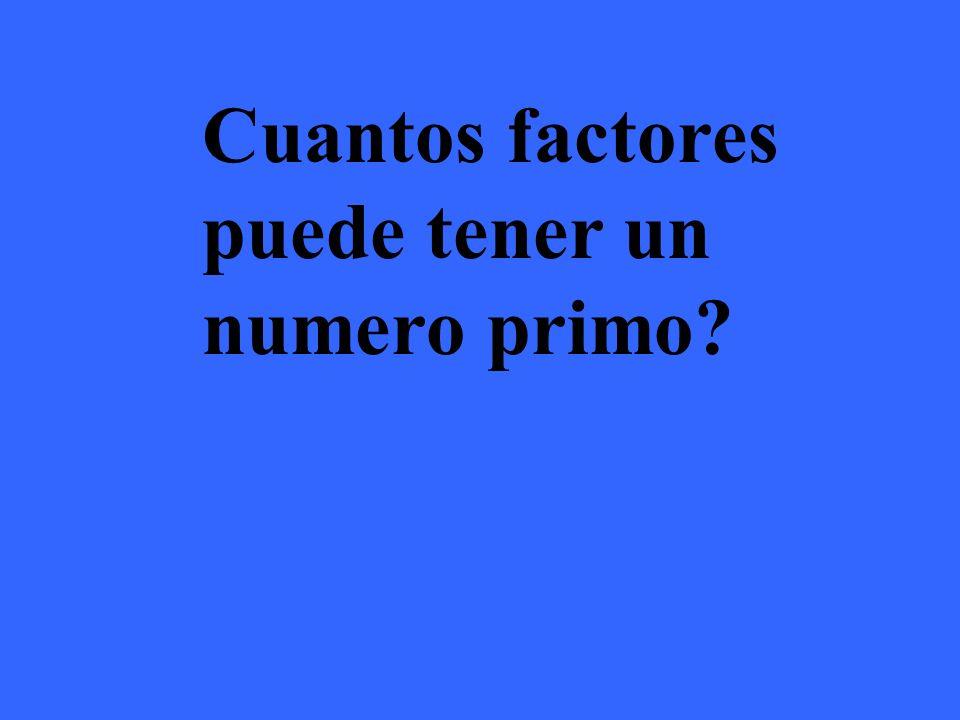 Los números primos solo pueden tener 2 factores Ejemplos: Factores del 3 son 1,3 Factores del 7 son 1,7 Factores del 23 son 1,23 Factores del 31 son 1,31
