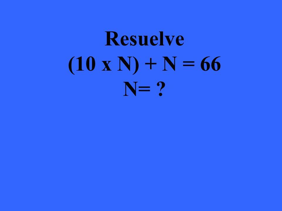 (10 x N) + N = 66 N= 6 (10 x 6) + 6 = 66