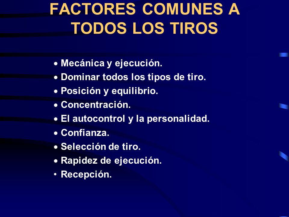 FACTORES COMUNES A TODOS LOS TIROS  Mecánica y ejecución.
